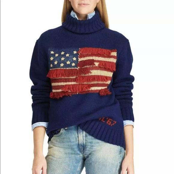 Polo Ralph Lauren American flag fringe sweater NWT